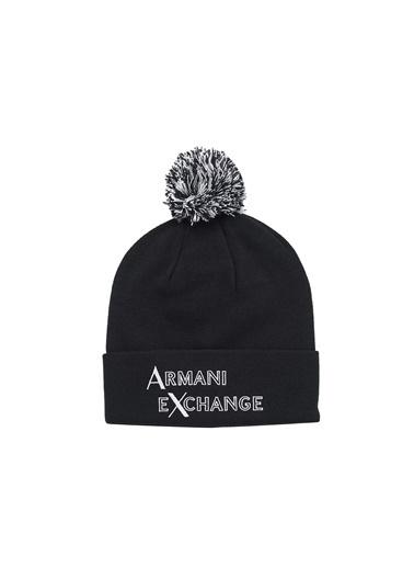 Armani Exchange Armani Exchange 6Hz42B Zms1Z 2554 Akrilik Logo Baskılı Püskül Detaylı Erkek Bere Lacivert
